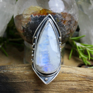 Warrior Shield Ring // Rainbow Moonstone - Size 8 - acid-queen-jewelry, All Products - acid-queen-jewelry, vendor-unknown - acid-queen-jewelry,  Acid Queen Jewelry - acid-queen-jewelry