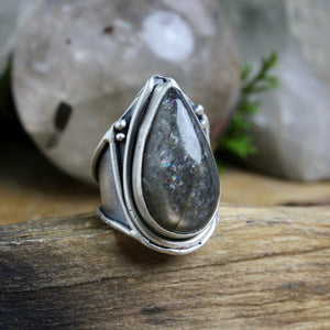 Warrior Ring // Labradorite - Size 8.5 - acid-queen-jewelry, All Products - acid-queen-jewelry, vendor-unknown - acid-queen-jewelry,  Acid Queen Jewelry - acid-queen-jewelry