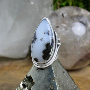 Warrior Ring // Dendritic Agate- Size 5.5 - acid-queen-jewelry, All Products - acid-queen-jewelry, vendor-unknown - acid-queen-jewelry,  Acid Queen Jewelry - acid-queen-jewelry