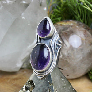 Warrior Shield Ring // Double Amethyst - Size 8 - acid-queen-jewelry, All Products - acid-queen-jewelry, vendor-unknown - acid-queen-jewelry,  Acid Queen Jewelry - acid-queen-jewelry