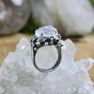 Captured Quartz Ring - SIZE 6 - acid-queen-jewelry, All Products - acid-queen-jewelry, vendor-unknown - acid-queen-jewelry,  Acid Queen Jewelry - acid-queen-jewelry
