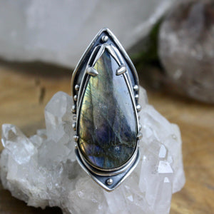 Warrior Shield Ring // Labradorite - Size 7 - acid-queen-jewelry, All Products - acid-queen-jewelry, Acid Queen Jewelry - acid-queen-jewelry,  Acid Queen Jewelry - acid-queen-jewelry