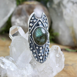 Circe Shield Ring // Labradorite - Size 7.5 - Acid Queen Jewelry