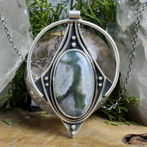 Conjurer Necklace //  Moss Agate - Acid Queen Jewelry