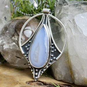 Conjurer Necklace // Blue Lace Agate - acid-queen-jewelry, All Products - acid-queen-jewelry, vendor-unknown - acid-queen-jewelry,  Acid Queen Jewelry - acid-queen-jewelry