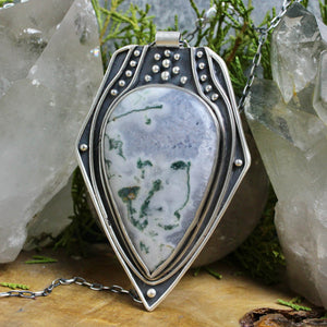 Voyager Shield Necklace //  Moss Agate - acid-queen-jewelry, All Products - acid-queen-jewelry, vendor-unknown - acid-queen-jewelry,  Acid Queen Jewelry - acid-queen-jewelry