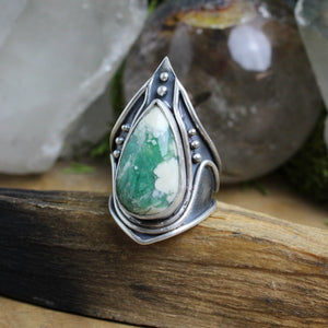 Warrior Ring // Moss Agate - Size 9 - acid-queen-jewelry, All Products - acid-queen-jewelry, vendor-unknown - acid-queen-jewelry,  Acid Queen Jewelry - acid-queen-jewelry