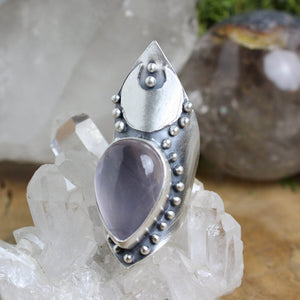 Warrior Moon Shield Ring // Rose Quartz- Size 7 - acid-queen-jewelry, All Products - acid-queen-jewelry, Acid Queen Jewelry - acid-queen-jewelry,  Acid Queen Jewelry - acid-queen-jewelry