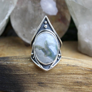 Warrior Ring // Moss Agate - Size 9 - Acid Queen Jewelry