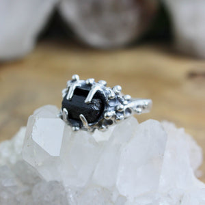 Captured Tourmaline Ring // Black Tourmaline Size 7.5 - Acid Queen Jewelry