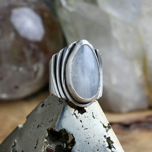 Warrior Ring // Rainbow Moonstone - Size 7.25 - Acid Queen Jewelry