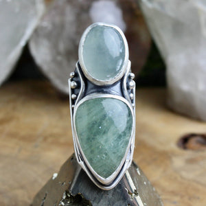 Warrior Shield Ring // Double Aquamarine - Size 8 - Acid Queen Jewelry
