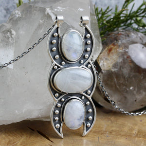Triple Moon Goddess Voyager // Triple Rainbow Moonstone - Acid Queen Jewelry