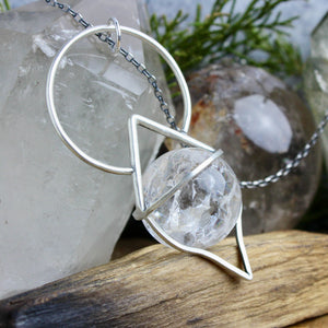 Crystal Ball Pendulum Necklace // Crackle Quartz - Acid Queen Jewelry