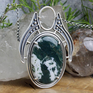 Prophetess Necklace // Moss Agate - Acid Queen Jewelry