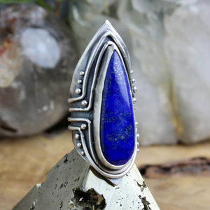 Warrior Shield Ring //  Lapis Lazuli - Size 8 - Acid Queen Jewelry