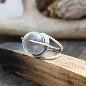 Divination Ring // Silver and Quartz Crystal Ball - acid-queen-jewelry, All Products - acid-queen-jewelry, vendor-unknown - acid-queen-jewelry,  Acid Queen Jewelry - acid-queen-jewelry