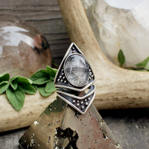 Sarek Ring // Tourmalated Quartz - acid-queen-jewelry, All Products - acid-queen-jewelry, vendor-unknown - acid-queen-jewelry,  Acid Queen Jewelry - acid-queen-jewelry