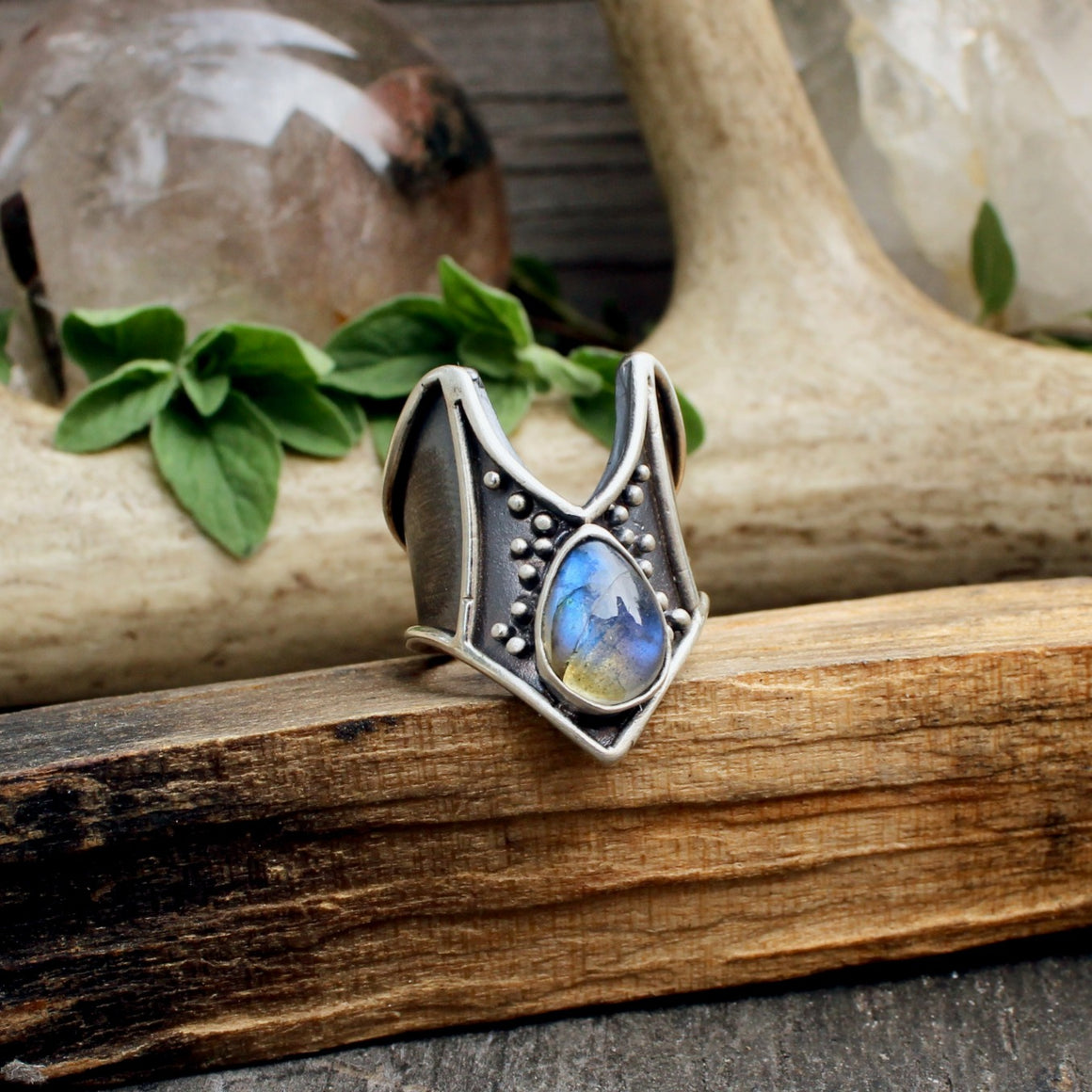 Rygel Ring // Labradorite - acid-queen-jewelry, All Products - acid-queen-jewelry, vendor-unknown - acid-queen-jewelry,  Acid Queen Jewelry - acid-queen-jewelry
