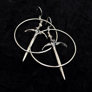 Sorcerer Sword Hoops - acid-queen-jewelry, All Products - acid-queen-jewelry, vendor-unknown - acid-queen-jewelry,  Acid Queen Jewelry - acid-queen-jewelry