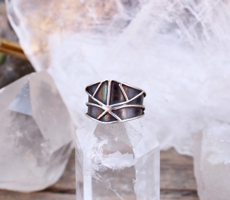 Ley Lines Half Shield Ring - acid-queen-jewelry, All Products - acid-queen-jewelry, vendor-unknown - acid-queen-jewelry,  Acid Queen Jewelry - acid-queen-jewelry