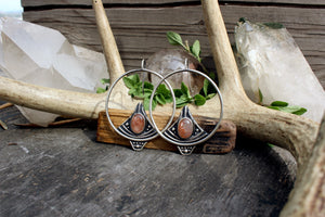 Sela Earrings // Sunstone - acid-queen-jewelry, All Products - acid-queen-jewelry, vendor-unknown - acid-queen-jewelry,  Acid Queen Jewelry - acid-queen-jewelry