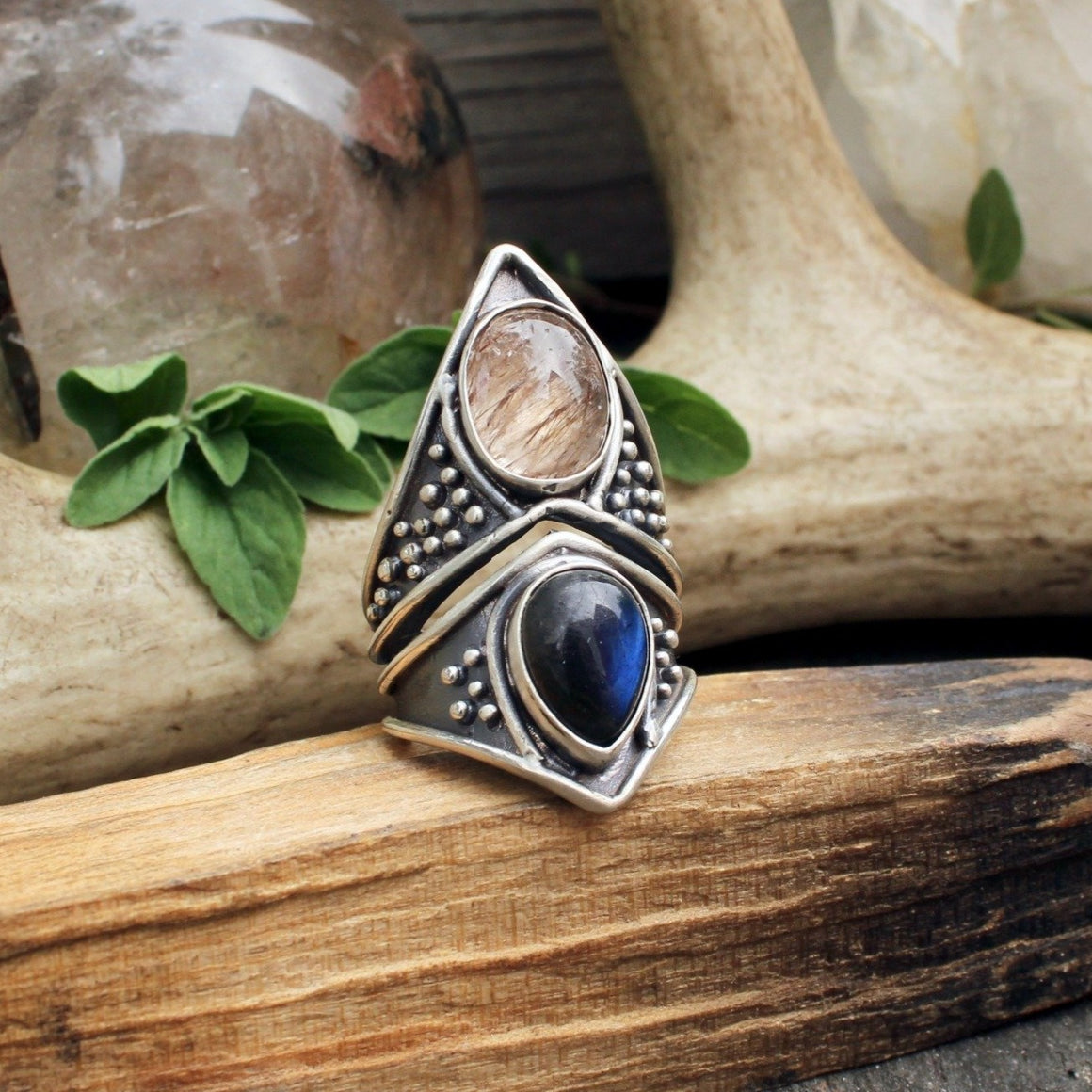 Eldreth Ring // Rutilated Quartz & Labradorite - acid-queen-jewelry, All Products - acid-queen-jewelry, vendor-unknown - acid-queen-jewelry,  Acid Queen Jewelry - acid-queen-jewelry