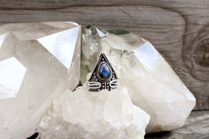 Aurra Ring // Labradorite // Above + Below - acid-queen-jewelry, All Products - acid-queen-jewelry, vendor-unknown - acid-queen-jewelry,  Acid Queen Jewelry - acid-queen-jewelry