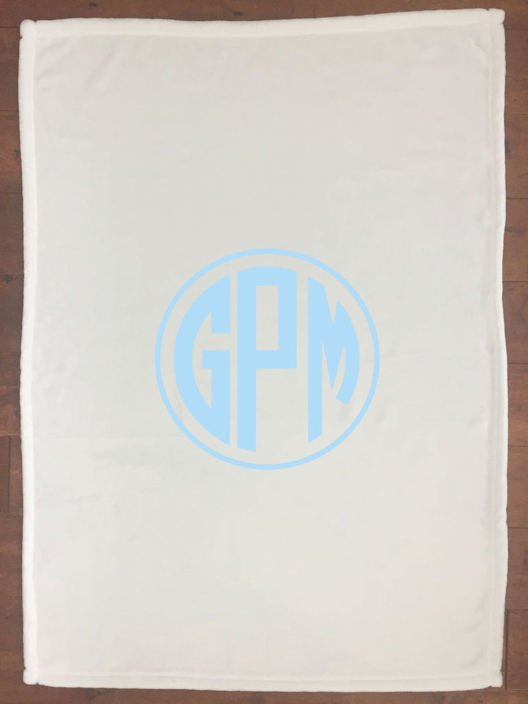 bk014 Light Blue Monogram Blanket