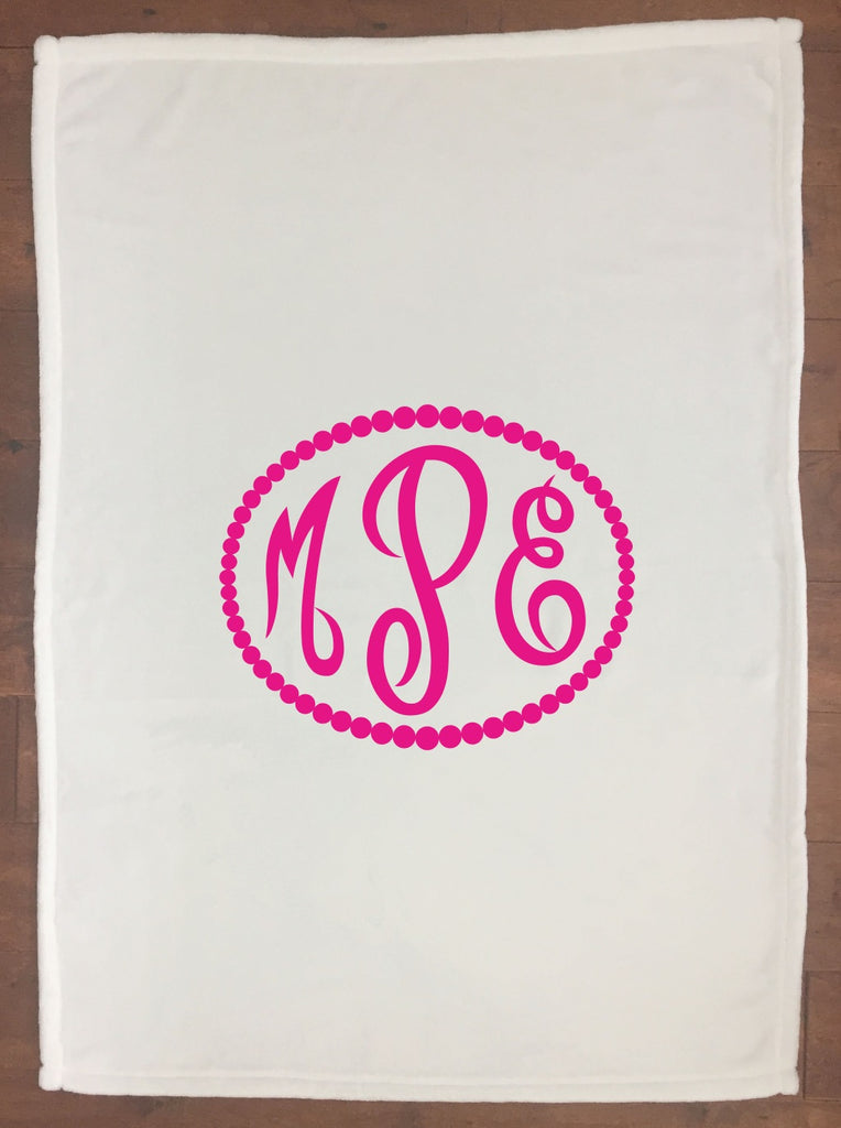 bk011 Dark Pink Monogram Blanket