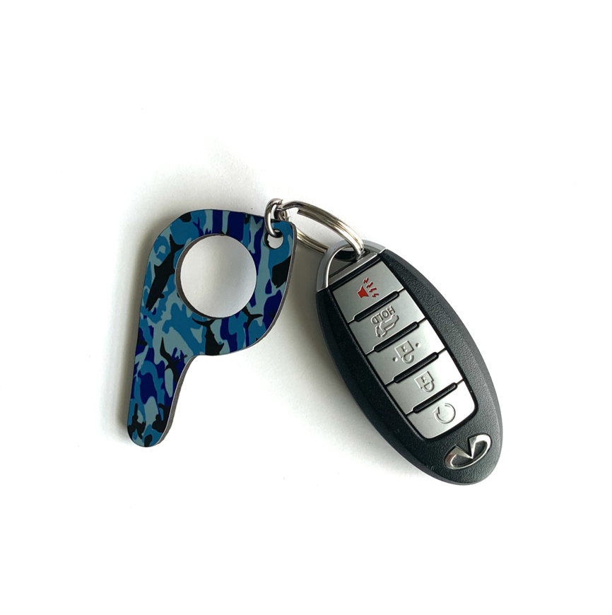bp17 Blue Fish Camo Button Pusher Key Chain