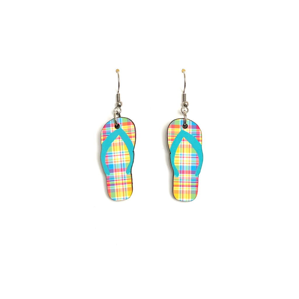 cer08 Blue Plaid Flip Flop Earring