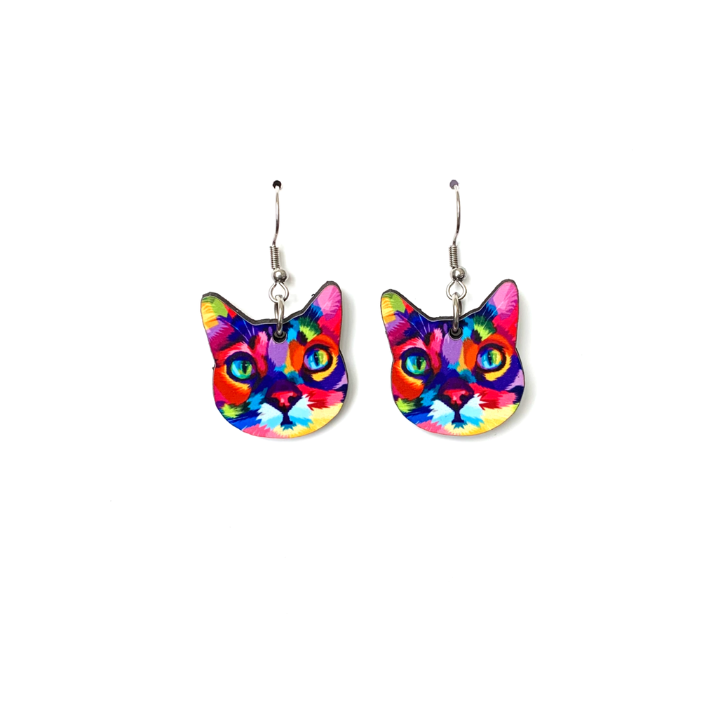 cer12  Rainbow Cat Earring