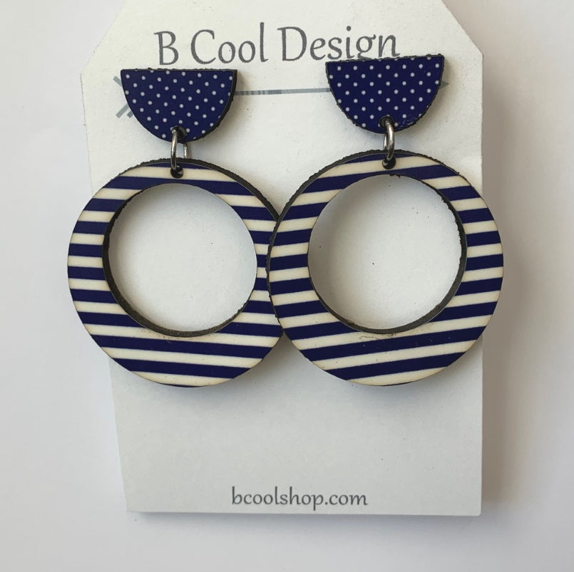 sw17 Cece Navy Stripe Earring