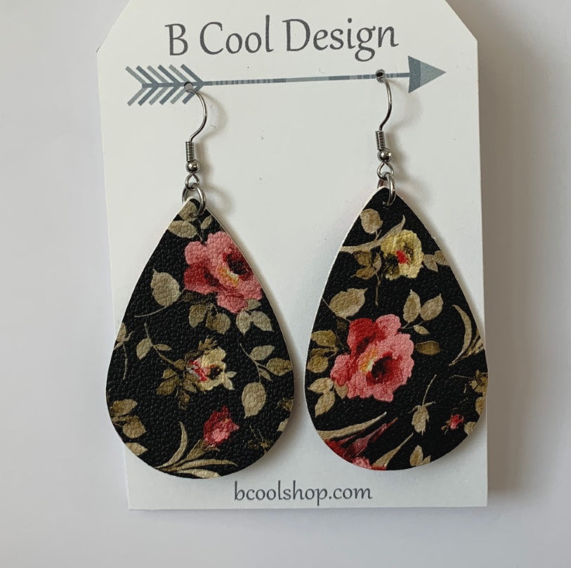 fl14 Faux Leather Black Floral Earring