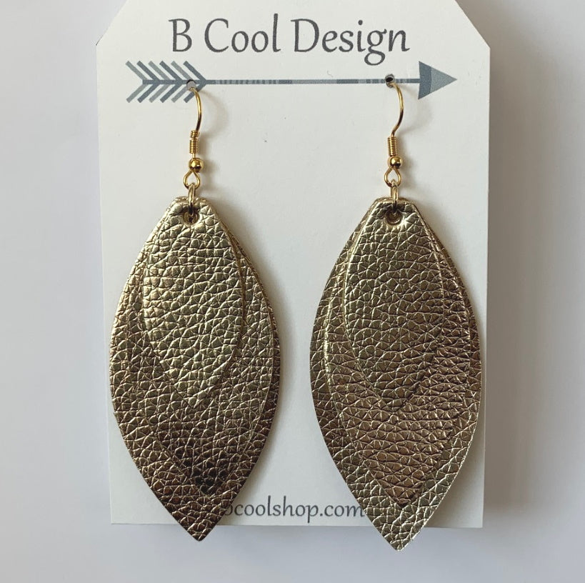 fl15 Faux Leather Gold Layer Earring