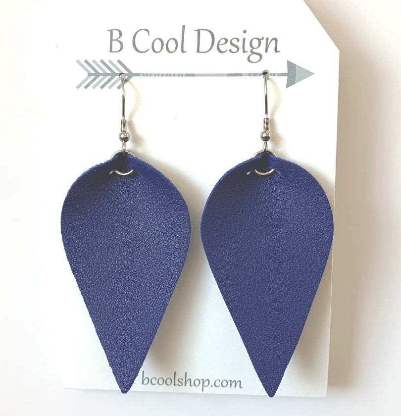 fl20 Medium Blue Leaf Earring