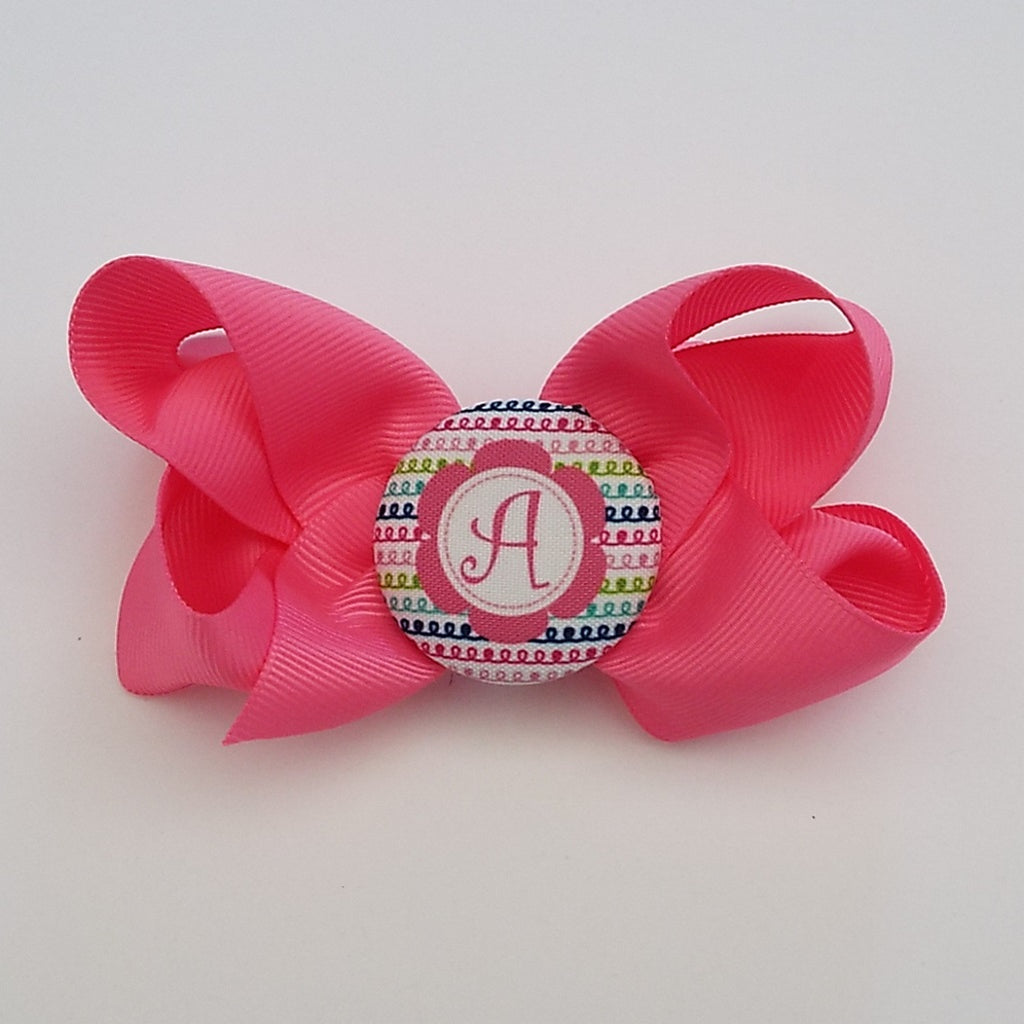 bw01 Pink Initial Hairbow