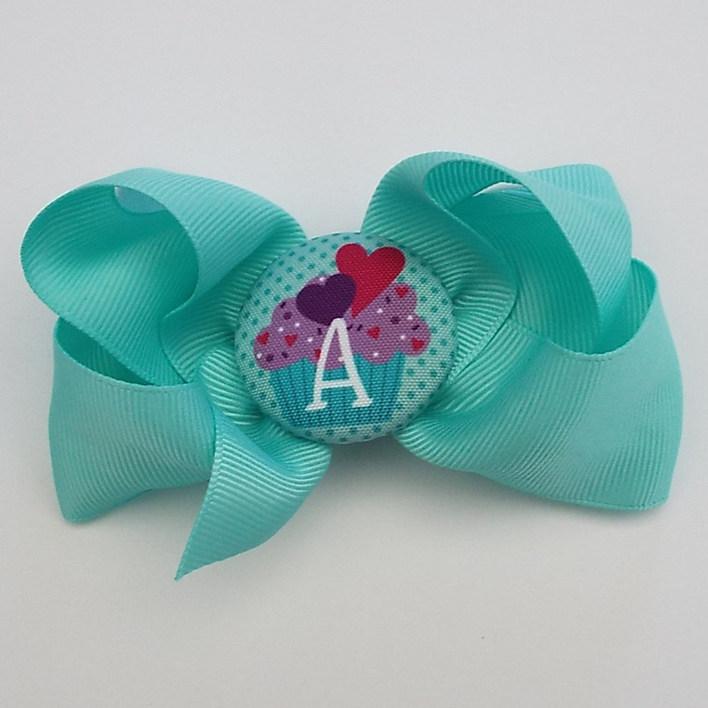 bw02 Cupcake Initial Hairbow