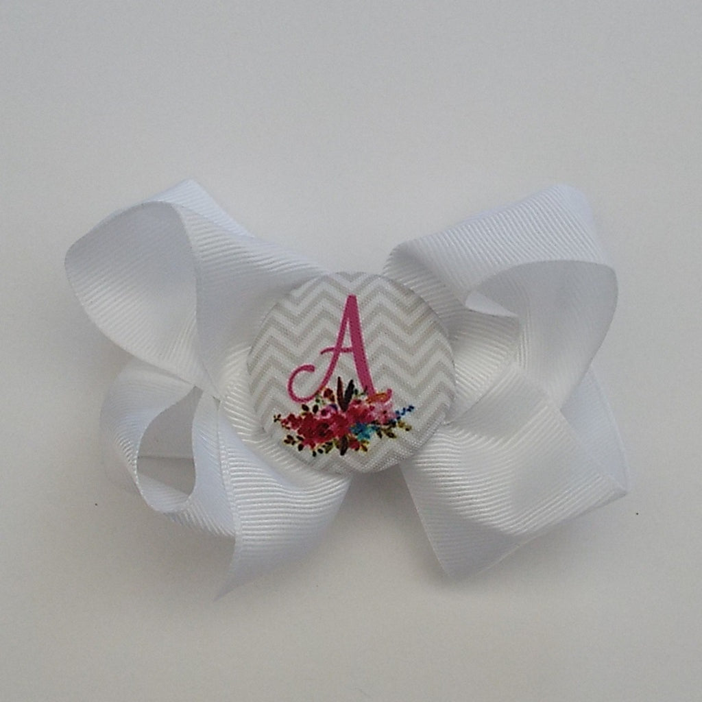 bw03 Floral Initial Hairbow