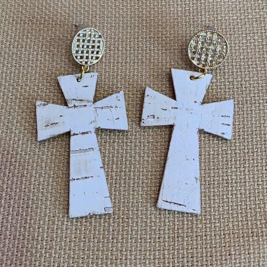 sl09-White Cork Cross Earring