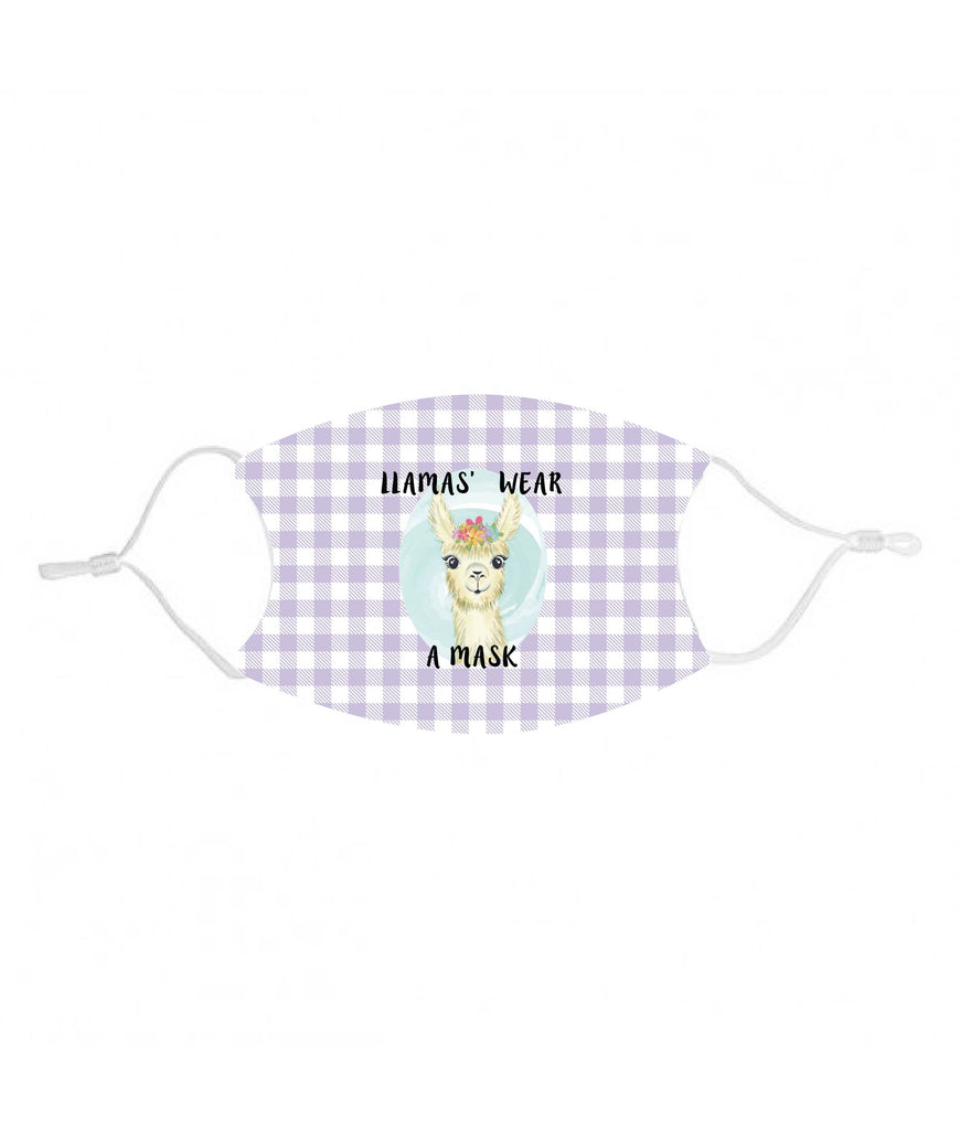 mk28 Llama purple Kids Face Mask