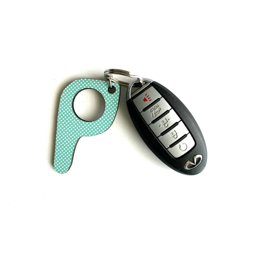 bp19 Mint Dot Button Pusher Key Chain