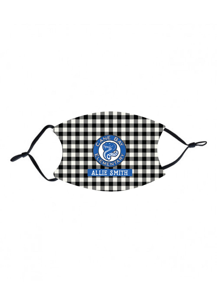 mk31 Cane Bay Elem Black Plaid Kids Face Mask