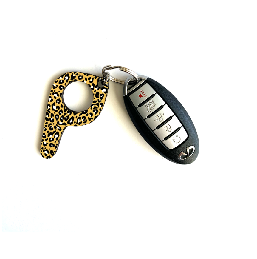 bp13 Mustard Leopard Button Pusher Key Chain