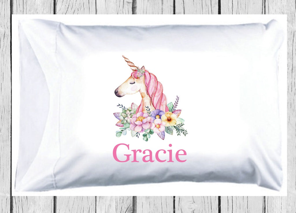 pc109 Pink Floral Unicorn Pillowcase