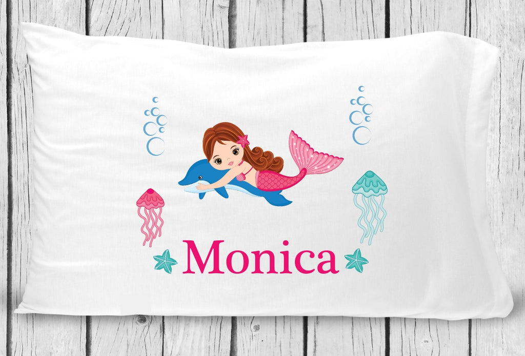pc131-2 Lt Brown Hair Mermaid Pillowcase