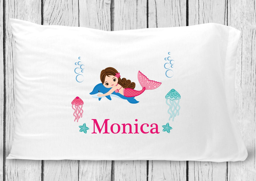pc131-3 Dark Brown Hair Mermaid Pillowcase