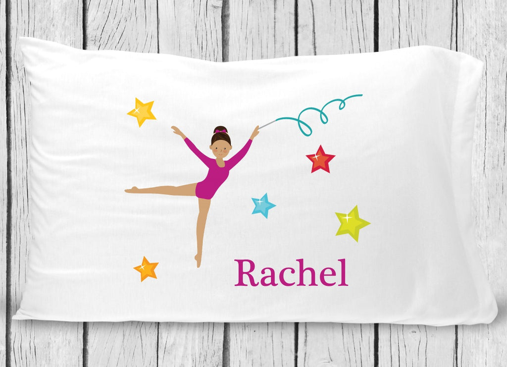 pc133-2  Dark Brown Hair Gymnastics Pillowcase