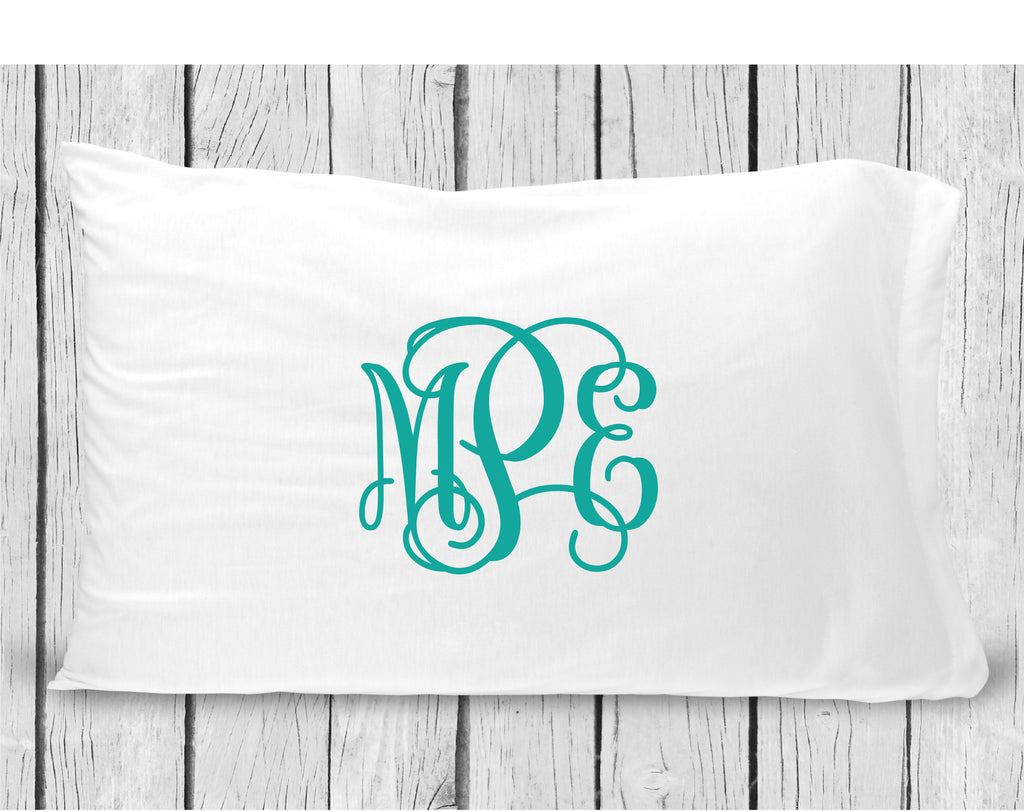 pc31 Turquoise Monogram Pillowcase